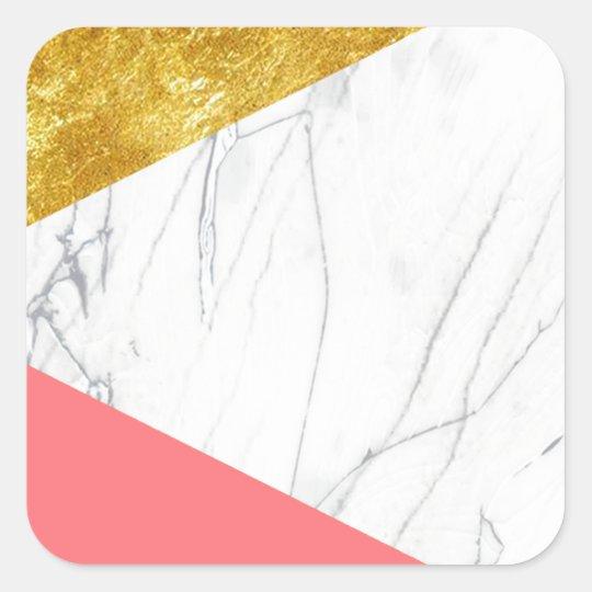 White Gold Salmon Marble Square Sticker