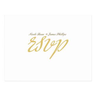 White & Gold Script Wedding RSVP Postcard