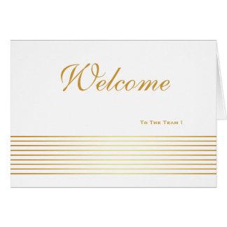 White Gold Striped Sleek Welcome Card