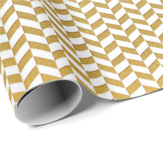 White Gold Stripes Herringbones Lines Geometry Wrapping Paper