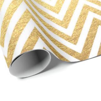 White Gold Stripes  Lines Zig Zag Chevron Wrapping Paper