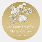White Gold Wedding Bells Flowers 50th Anniversary Classic Round Sticker