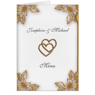 White Gold  Wedding Menu Card
