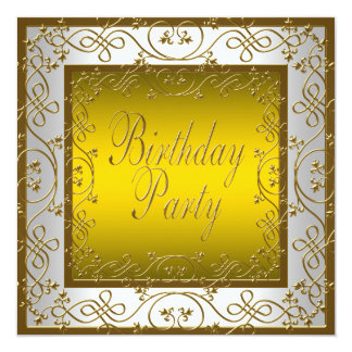 """White Gold Womans Birthday Party 5.25"""" Square Invitation Card"""