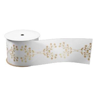 White Golden Christmas Floral Mountain Ash Satin Ribbon
