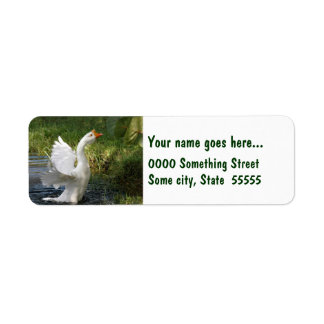 White goose flapping wings Return Address Labels