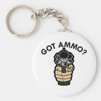 White Got Ammo Pistol Basic Round Button Keychain