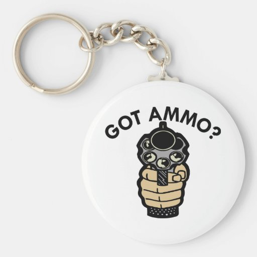 White Got Ammo Pistol Keychains