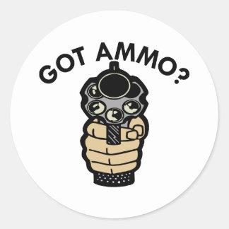 White Got Ammo Pistol Round Sticker