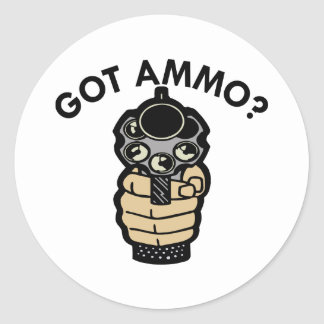 White Got Ammo Pistol Classic Round Sticker