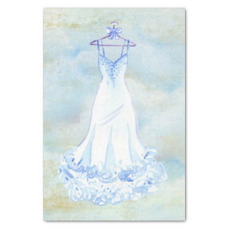 White Gown Watercolor Tissue Paper