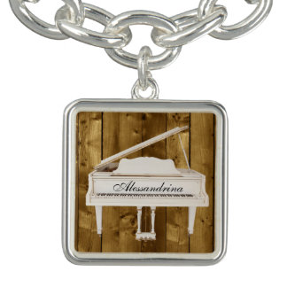 White Grand Piano on Wood Look Customizable Name Bracelets