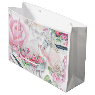 White Grand Pianos and Pink Roses Gift Bag