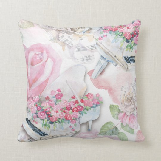 White Grand Pianos and Pink Roses Pillow