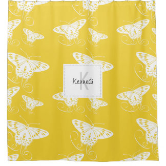 White Graphic Butterflies Bright Yellow Background