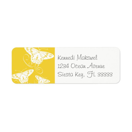 White Graphic Butterflies Bright Yellow Background Return Address Label
