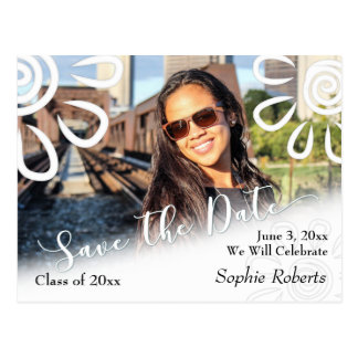 White Graphic Floral Save the Date Graduation Postcard