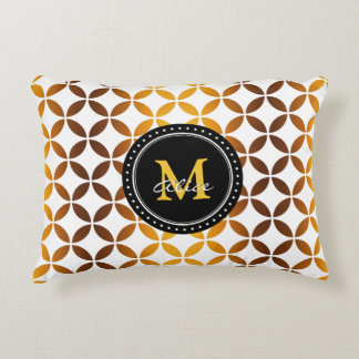 White Graphic Gold Circles and Diamonds Pattern Decorative Pillow