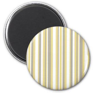 White, Gray and Beige Vertical Stripe Pattern 2 Inch Round Magnet