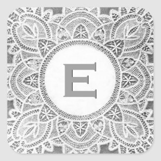 White Gray Antique Lace Monogram D or any Letter Square Sticker