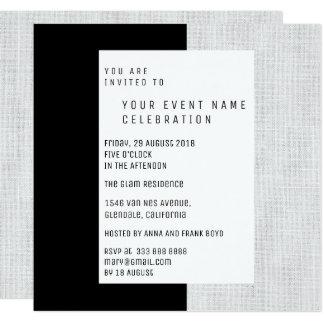 White Gray Black Minimal Geometrical Linen Glam Card