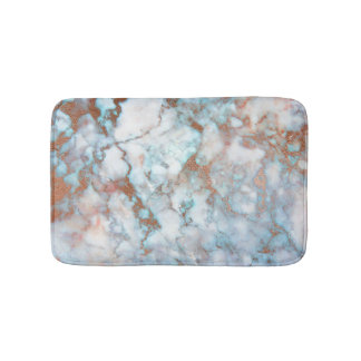 White Gray Blue Marble Stone Brown Glitter Bath Mat