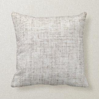 White Gray Burlap Texture Throw Pillow