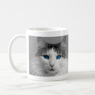 White Gray Cat with Beautiful Blue Eyes Coffee Mug