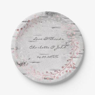 White Gray Cottage Birch Wreath Garland Pink Rose Paper Plate