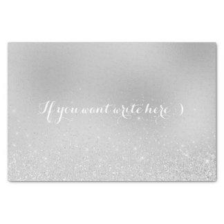 White Gray Delicate Glitter Confetti Silver Gray Tissue Paper