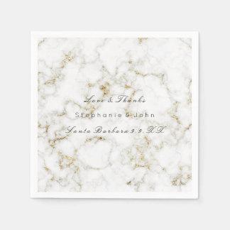 White Gray Gold Metallic Blush Marble Wedding Napkin