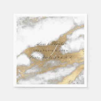 White Gray Gold  Metallic Carrara Marble Wedding Napkin
