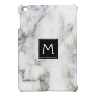 White & Gray Image Of Marble Stone iPad Mini Covers