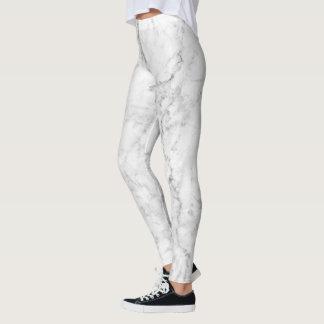White & Gray Marble Stone Design Leggings