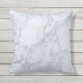 White & Gray Marble Stone Texture Outdoor Pillow