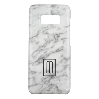 White & Gray Marble Texture Monogram Case-Mate Samsung Galaxy S8 Case