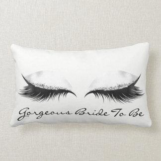 White Gray Metallic Makeup Lashes Gorgeous Bride Lumbar Pillow