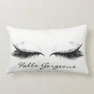 White Gray Metallic Makeup Lashes Hello Gorgeous Lumbar Pillow
