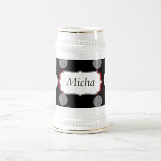 White & Gray Polka Dots On Black Monogram 18 Oz Beer Stein
