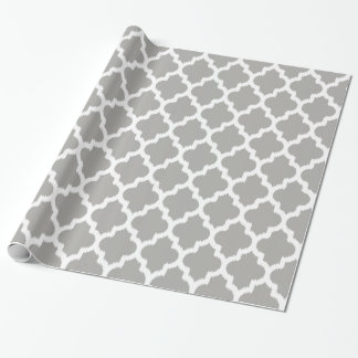 White & Gray Quatrefoil Geometric Pattern. Wrapping Paper