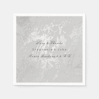 White Gray Silver  Metallic Blush Marble Wedding Napkin