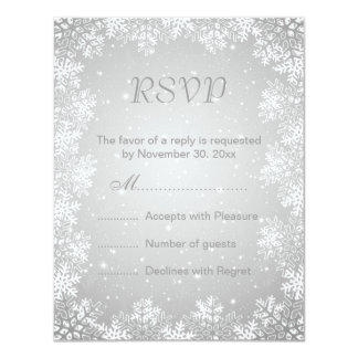 White gray snowflakes winter wedding RSVP Card