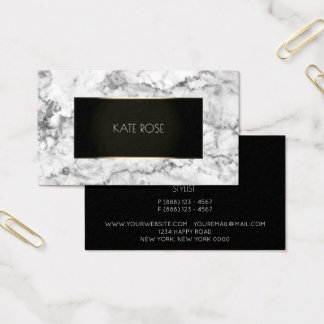 White Gray Stone Marble Black Champaign Frame Vip Business Card