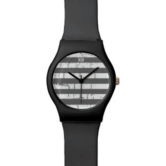 white gray stripes watch