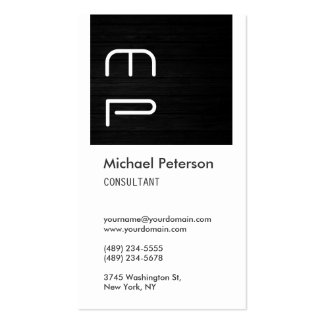 White Gray Wood Stripe Monogram Business Card