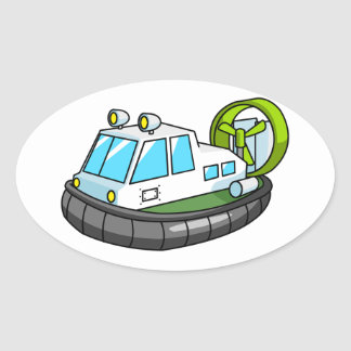 White, Green, and Black Cartoon Hovercraft Oval Sticker