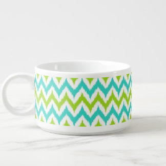 White, Green and Turquoise Zigzag Ikat Pattern Bowl
