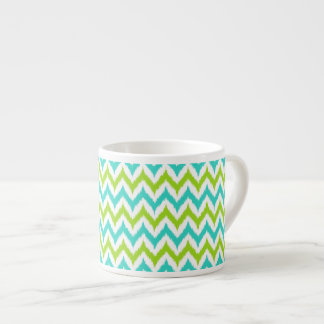 White, Green and Turquoise Zigzag Ikat Pattern Espresso Cup