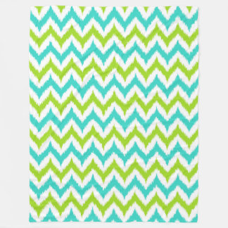 White, Green and Turquoise Zigzag Ikat Pattern Fleece Blanket