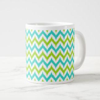 White, Green and Turquoise Zigzag Ikat Pattern Large Coffee Mug